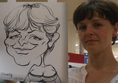 Karikatur mit Tusche auf Kartonpapier