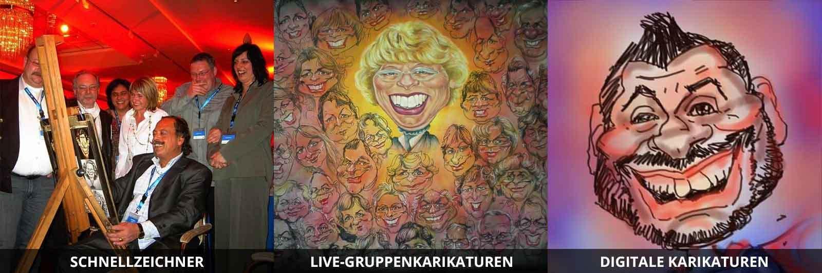 Schnellzeichner | Live-Gruppenkarikaturen | Digitale Karikaturen